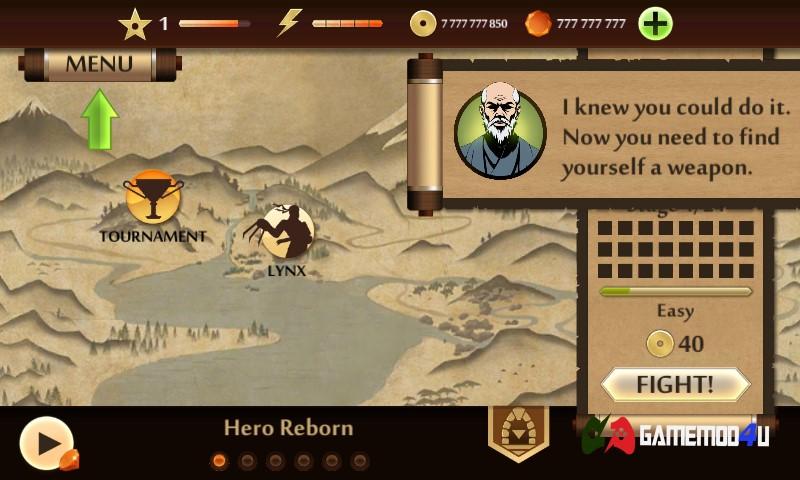 Hình ảnh trong game Shadow Fight 2 hack apk mod full tiền đã được mình test