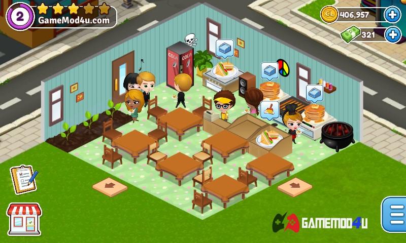 Hình ảnh trong game hack Cafeland full tiền dành cho điện thoại được test bởi GameMod4u
