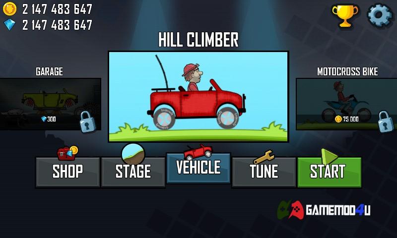 Hình ảnh tựa game hack Hill Climb Racing mod full tiền và xăng dành cho điện thoại