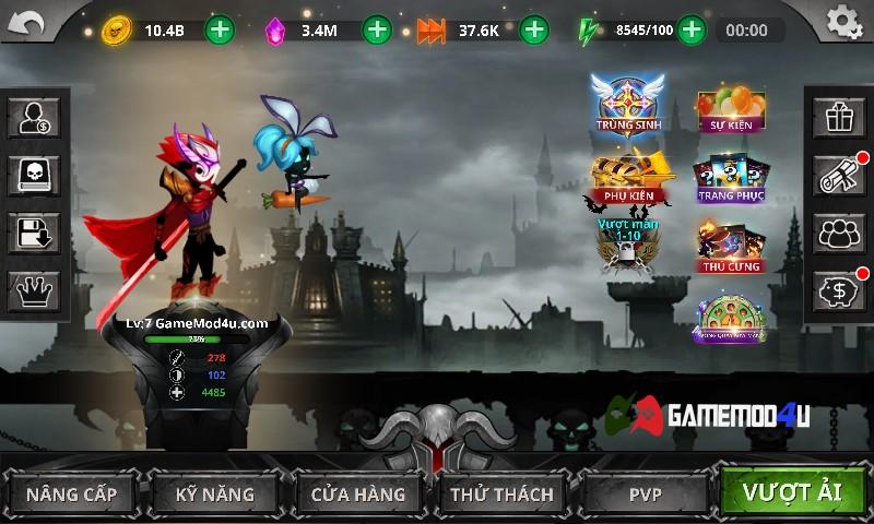 Hình ảnh trong Stickman Legends mod full tiền