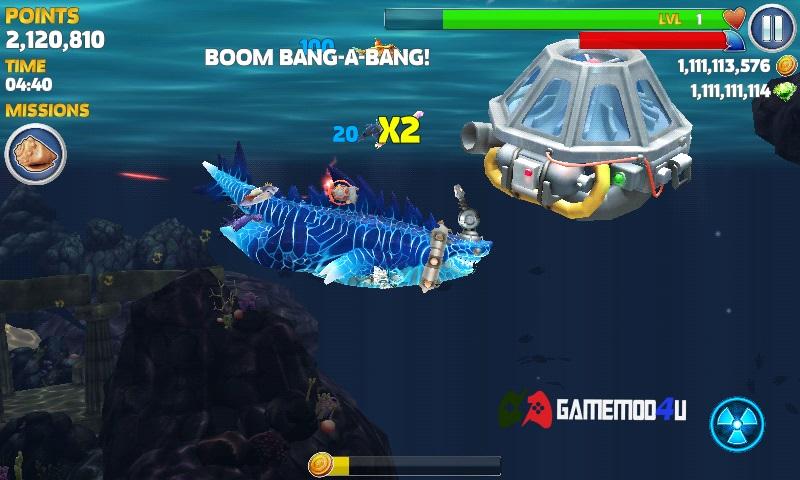 Bản hack Hungry Shark Evolution mod phiên bản mới nhất