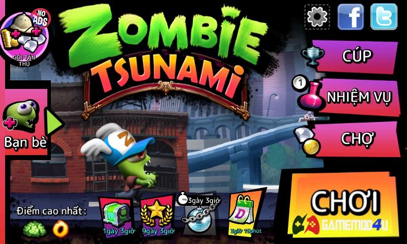 Tựa game giải trí Zombie Tsunami vô cùng hay và thú vị
