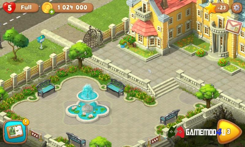 Hình ảnh tựa game Gardenscapes hack full tiền trên điện thoại Android