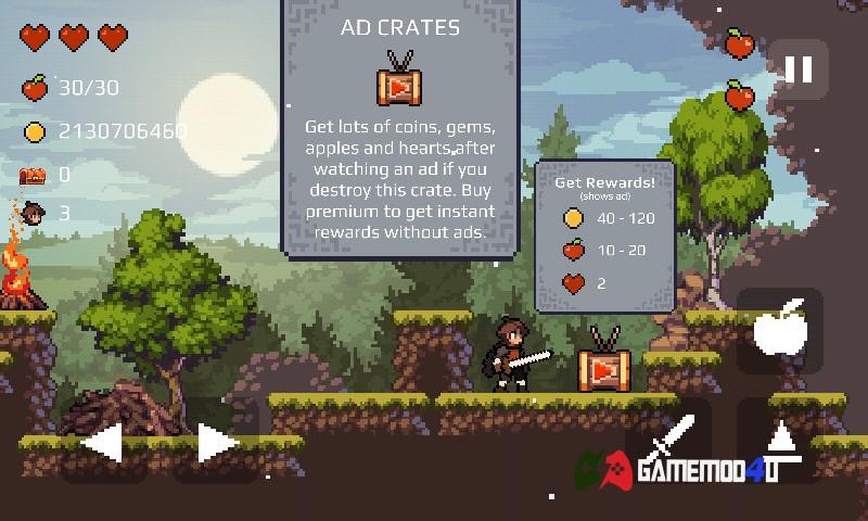 Hình ảnh trong tựa game Apple Knight Action Platformer hack full tiền cho Android
