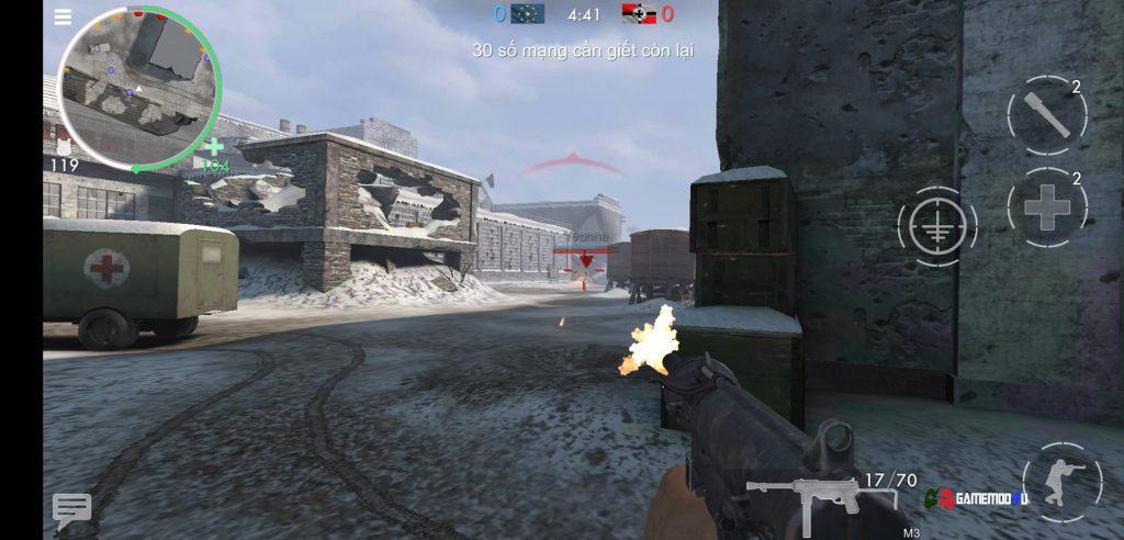 Hình ảnh trong tựa game World War Heroes hack full đạn bắn vô cùng sướng