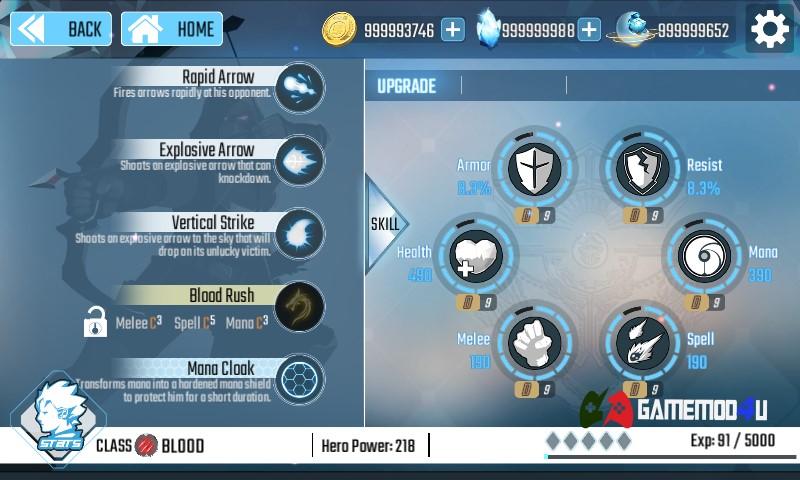 nâng cấp kĩ năng nhân vật trong game