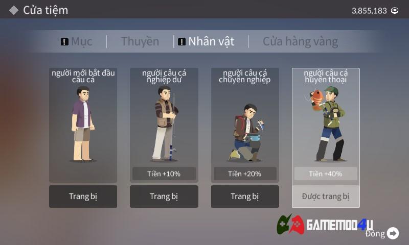Nhân vật trong tựa game câu cá Fishing Life hack full tiền
