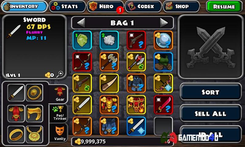 Dungeon Quest hack tiền và mod free shop