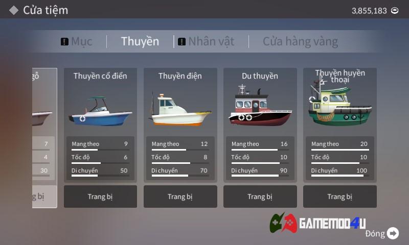 thuyền trong game Fishing Life