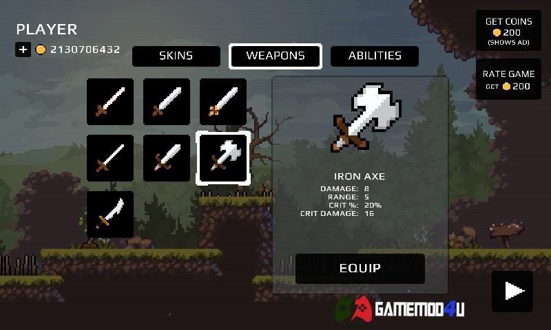 Hình ảnh những vũ khí trong tựa game Apple Knight Action Platformer hack này