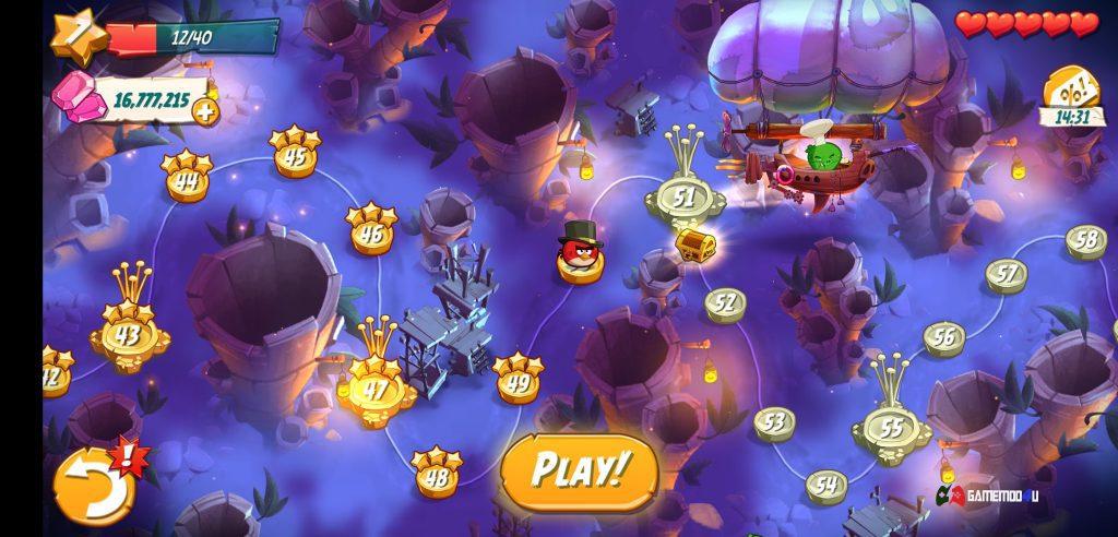 Có rất nhiều map dành cho người chơi trong game Angry Birds 2 hack full tiền