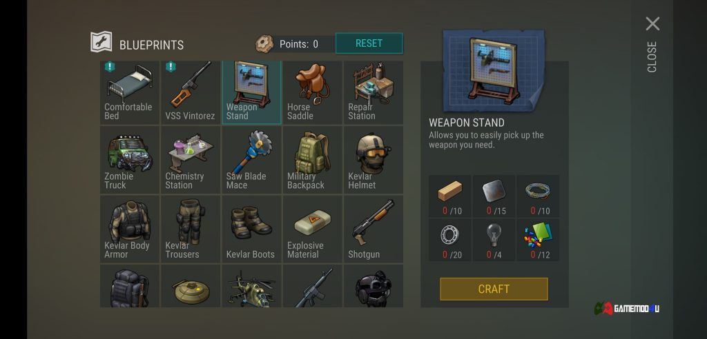 Chế tạo trong hack Last Day on Earth Survival mod apk