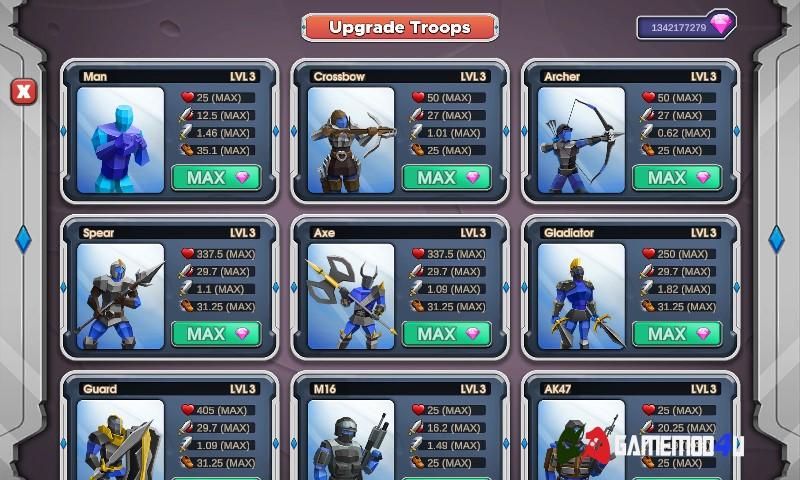 Nâng cấp binh lính trong game Epic Battle Simulator 2 hack full tiền