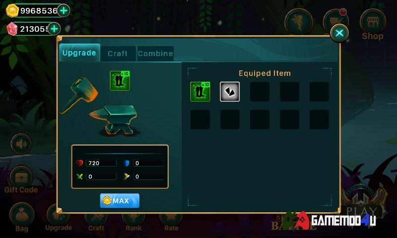 Nâng cấp trang bị trong Demon warrior hack full tiền (mod free shopping)