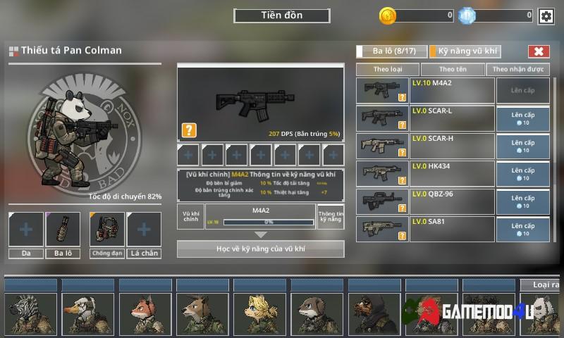 Nhân vật và nâng cấp vũ khí trong game