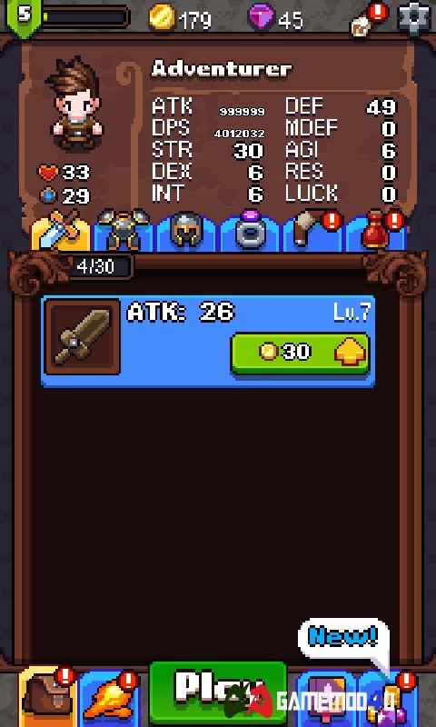 Nâng cấp vũ khí trong Dash Quest Heroes hack