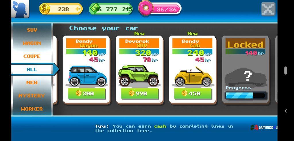Các loại xe trong Motor World Car Factory hack full tiền