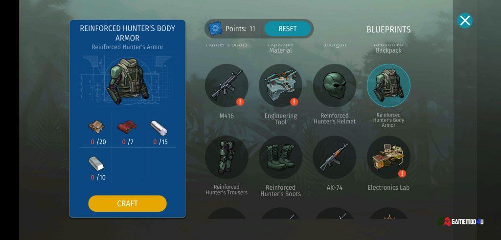 Hình ảnh trang bị trong hack Jurassic Survival mod craft, full tiền