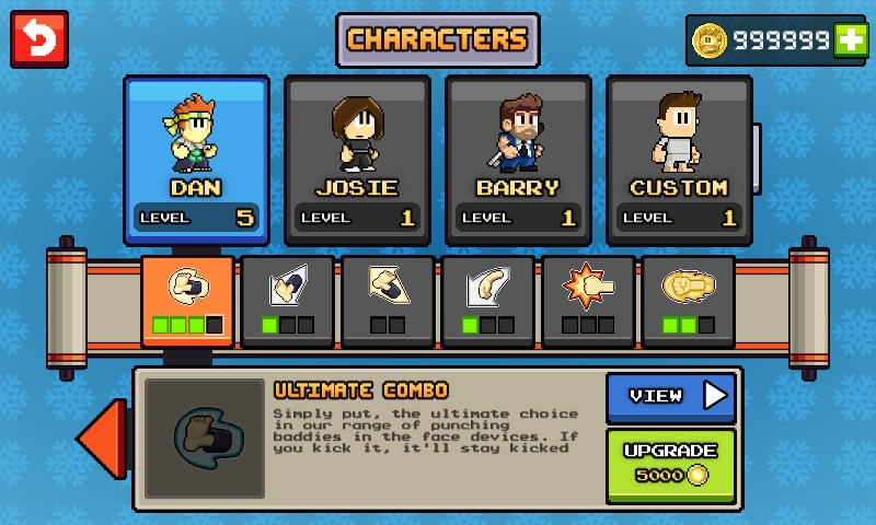 Nhân vật trong game hack Dan the Man full tiền