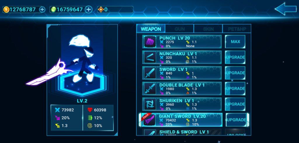 Vũ khí, nâng cấp sức mạnh trong bản hack Stickman Ghost 2 full tiền