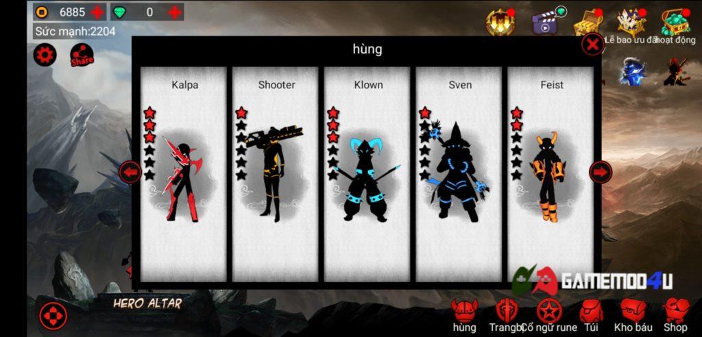 Hình ảnh các nhân vật trong League of Stickman hack full tiền