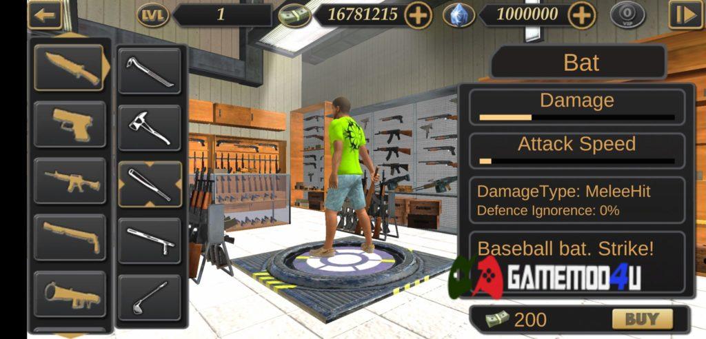 Hình ảnh cửa hàng trong hack Vegas Crime Simulator 2 full tiền