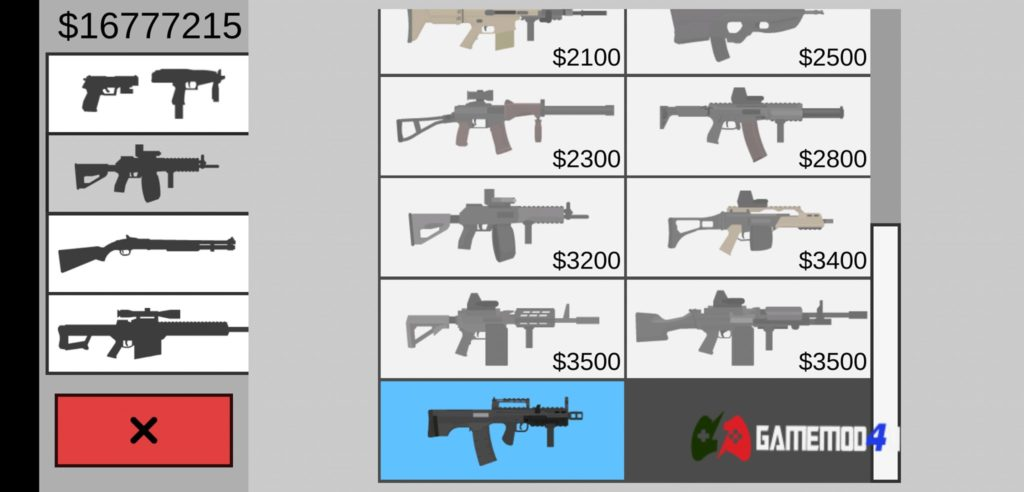 Hình ảnh vũ khí trong game hack Flat Zombies full tiền