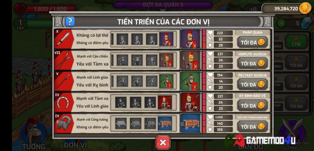 Các đơn vị trong game chiến thuật Grow Empire Rome hack full tiền