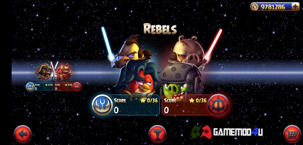 Các chế độ chơi có trong game Angry Birds Star Wars II Free hack full tiền