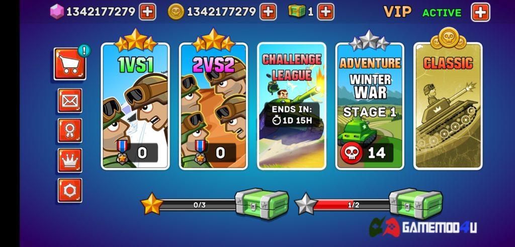 Các chế độ chơi trong game Hills of Steel hack full tiền