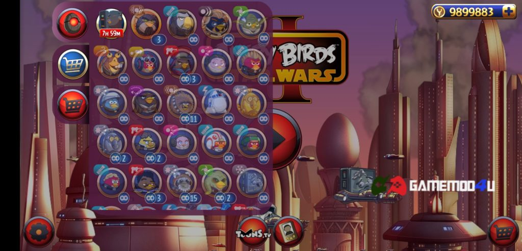 Các loại chim trong game Angry Birds Star Wars II Free hack full tiền
