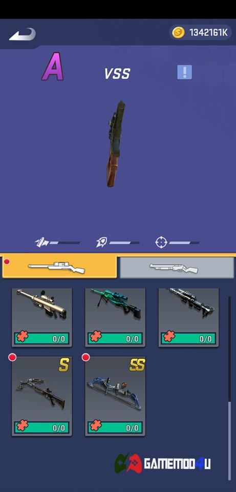 Các loại súng có trong game Shooting World hack full tiền