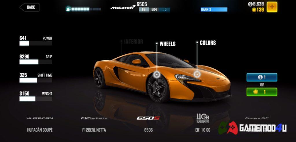 Các loại xe có trong CSR Racing 2 hack full tiền (mod free shopping)
