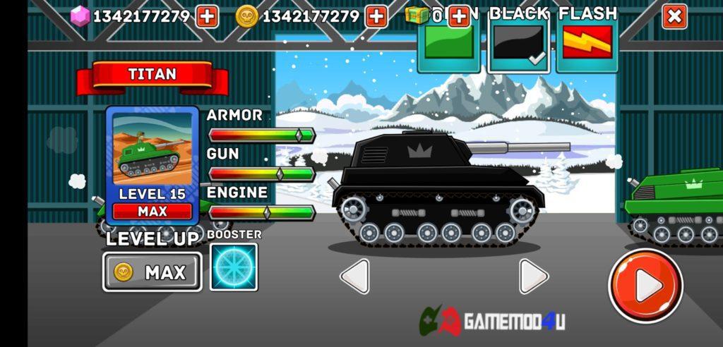 Các loại xe tăng và tính năng nâng cấp trong Hills of Steel hack full tiền