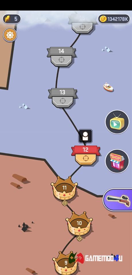 Có rất nhiều map cho người chơi trong game Shooting World hack full tiền