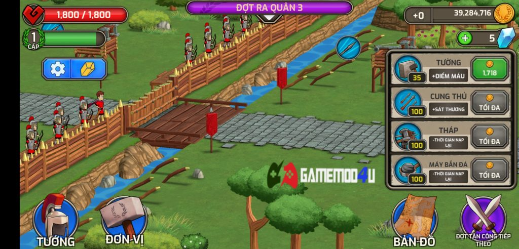 Doanh trại phòng thủ trong game chiến thuật Grow Empire Rome hack full tiền