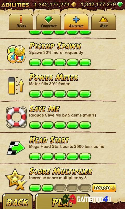 Nâng cấp các tính năng chính trong game Temple Run 2 hack full tiền