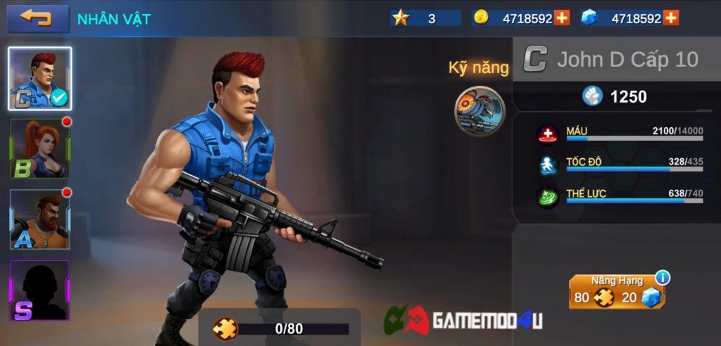Nhân vật trong game Metal Squad hack full tiền và đạn