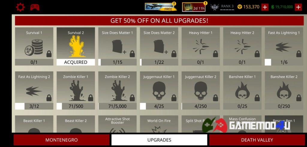 Những tính năng liên quan tới chế độ zombie trong Hitman Sniper hack full tiền