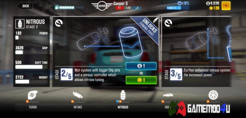 Tính năng nâng cấp trong CSR Racing 2 hack (mod free shopping)