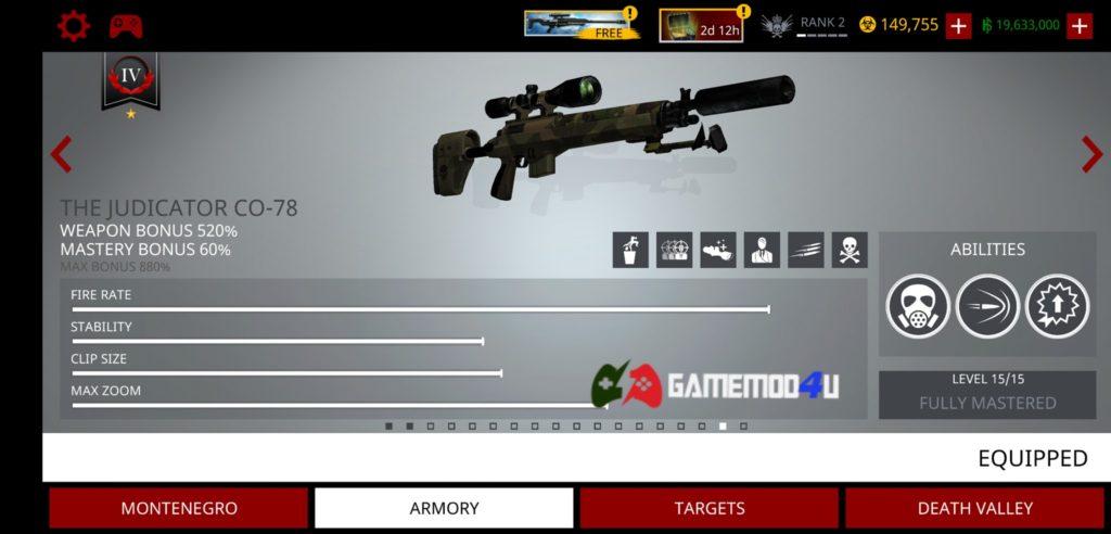 Vũ khí có trong game Hitman Sniper hack full tiền