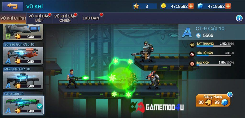 Vũ khí và tính năng nâng cấp trong game Metal Squad hack full tiền và đạn
