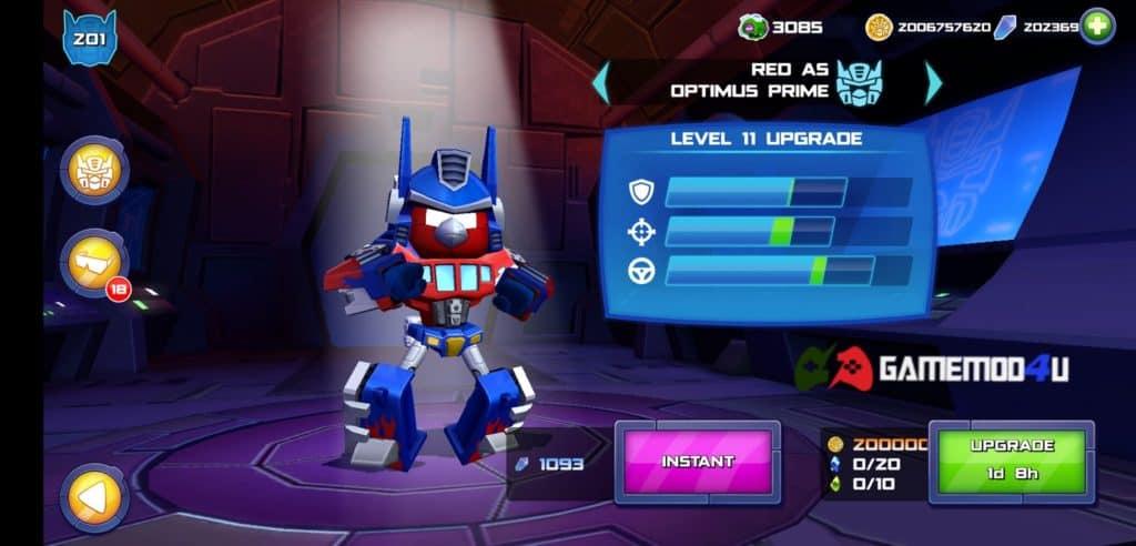 Các người máy biến hình trong Angry Birds Transformers mod full tiền