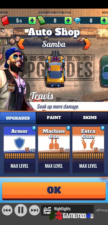 Một số tính năng trong game đua xe bắn súng Fastlane Road to Revenge hack full tiền