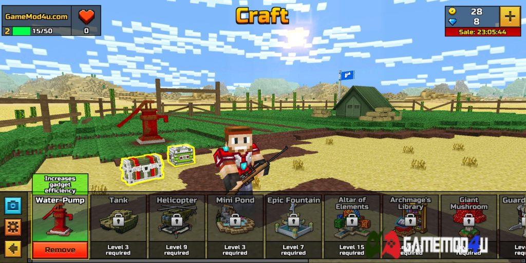 Những tính năng thú vị khác ngoài battle royale trong game Pixel Gun 3D hack