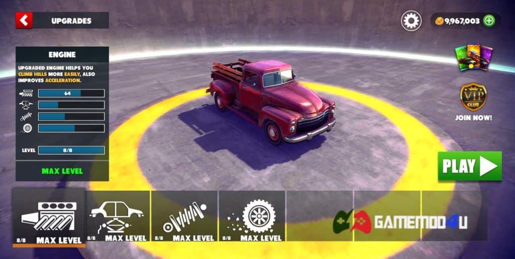 Tính năng nâng cấp xe trong game Off The Road hack full tiền