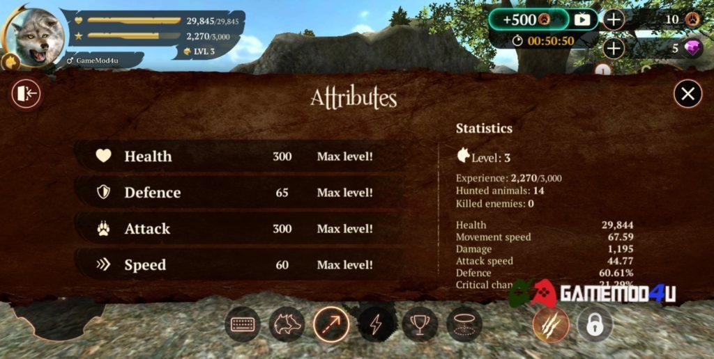 Tính năng trong game The Wolf hack full tiền