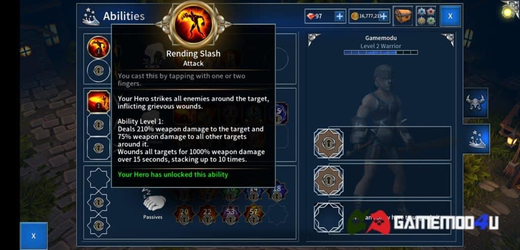 Các kĩ năng có trong game Eternium mod full tiền