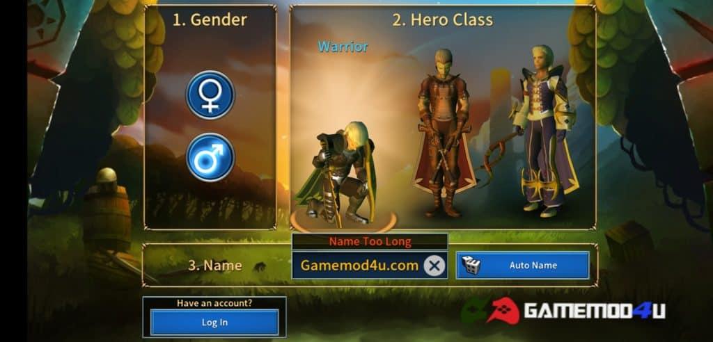 Có nhiều loại nhân vật cho người chơi lựa chọn trong Eternium mod full tiền
