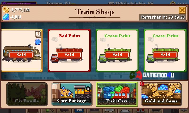 Có thể mua nhiều loại tàu khác nhau trong Tiny Rails mod full tiền